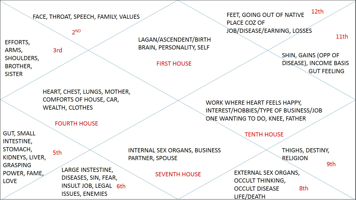 12 houses depicting diff traits
